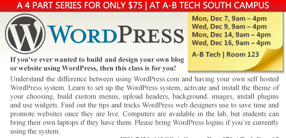 Build Your Own WordPress Site – 4 part class in December