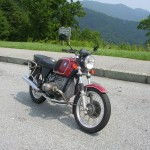 Front view of r75/6 BMW motorcycle